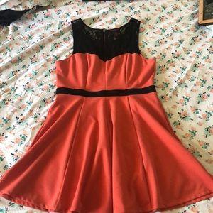 Salmon and black lace flowy midi dress